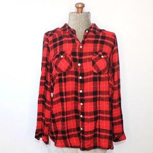 Torrid Red & Black Long Sleeve Flannel Shirt 2X